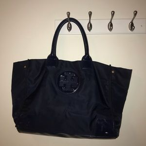 Tory Burch Ella Patent Navy Tote